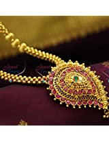 Beaded Jewellery Temple Kempu South Indian Traditional Gold Design Pendant Collections
