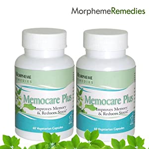 Morpheme Memocare Plus For Mental Alertness - (Pack of 2) 500 mg - 60 Veg Capsules