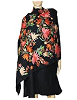 Beautiful floral embroidery black stole/shawl from Indian Fashion Guru