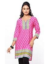 Purab Paschim Women's Cotton Printed Pink Carnation Kurti (20756) X-Large (OLT20756PCXL)