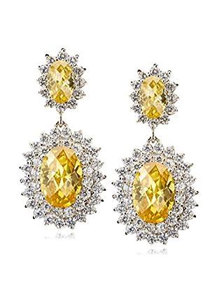 CZ by Kenneth Jay Lane Double CZ Oval Framed Drop Earrings