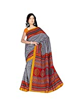 Sonal Trendz Black & Red Color Printed Polyester Cotton Saree