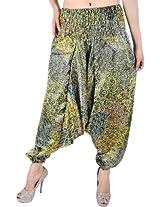 Exotic India Womens Satin Harem -Yellow, (Free Size)