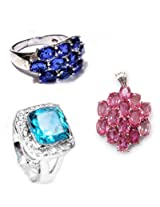 Dadu Diamonds Sterling Silver 925 Blue Rings With Pink Pendant For Women
