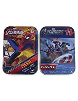 Spiderman And Avengers Mini Jigsaw Puzzle In Collectible Tin 2 Puzzle Set