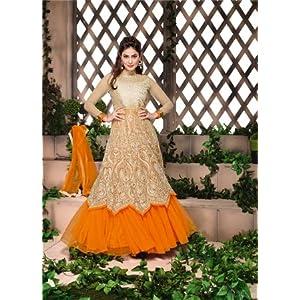 Viva N Diva Semi Stitched Anarkali Suit - Beige
