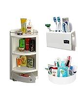 CiplaPlast Combo of Italy Corner Bathroom Cabinet, Tooth Brush Holder & Multi-Purpose Container - White