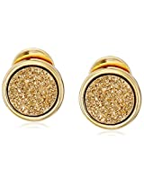"Marcia Moran ""Glamour"" Gold-Tone Druzy Stone Circle 18k Gold-Plated Earrings"