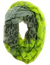 Sheer Leopard Meets Neon Splattered Infinity Scarf (Neon Green)