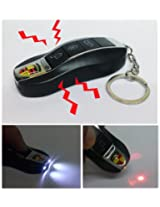 Generic Fake Car Remote Control Shock Keychain with Laser and LED Light (Black)