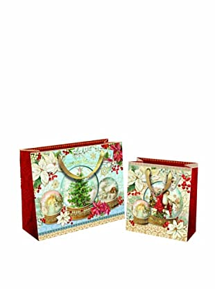 Punch Studio Set of 10 Gift Bags (Snow Globes)