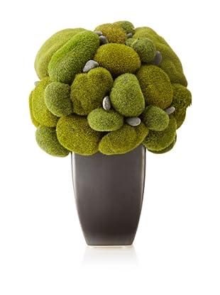 Faux Moss in Pot, Green/Pewter
