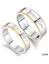 """GirlZ! Titanium Couple matching Silver Golden Hearts """"Forever Love"""" Wedding Engagement Rings (2 pieces - his and her)"""