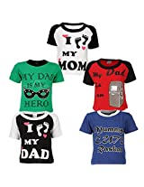 Goodway Junior Boys Mom & Dad Theme Combo Pack of 5 T-Shirts - 5-6 Years