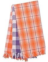 Viswalaya Fashion 135 GSM 3 Piece Cotton Bath Towel Set - Orange, Violet & Orange