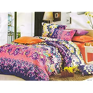 Amethyst Attractive Design Polyester Double Bedsheet with 2 Pillow Covers - Multicolor (RKH-BST-585)