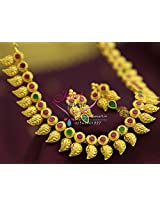 Exclusive One Gram Gold Plated Jewellery Ruby Emerald Traditional Indian Mango Design Jewellery High Quality