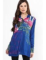 Blue Printed Knit Kurta Satya Paul