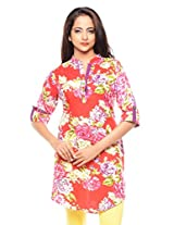 Purab Paschim women's Casual Printed TANGO RED Kurti Rayon (M/M)