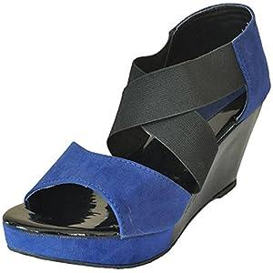 Sindhi Footwear Women's Blue Suede Sandals - 8 UK (SU-123_Blue_41)