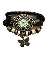 Young & Forever Valentine Special Elegant Black Leather Vintage Butterfly Bracelet Watch For Women by CrazeeMania