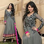 Grey Embroidered Georgette Suit with Dupatta - 4013