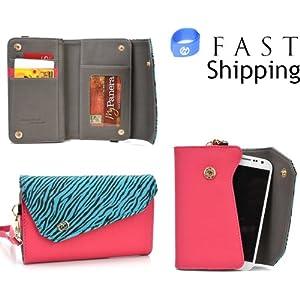 Safari Series Women's Crossbody Mini Wallet Clutch // Magenta Zebra for Samsung Galaxy S3 i9300 Mobile + Envydeal Velcro Cable Tie