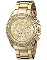 "Breda Women's 2288_gold ""Ultra Femme"" ""Ultra Femme"" Rhinestone Accented Gold Metal Runway Watch"