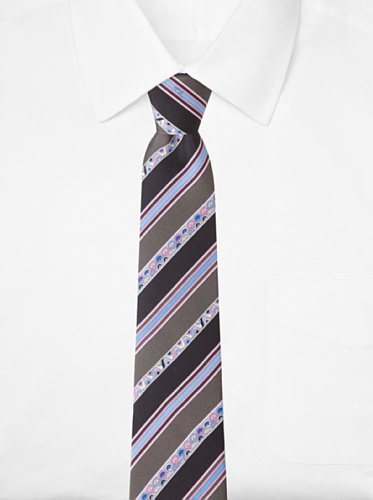 Emilio Pucci Men's Stripe and Wave Tie, Dark Grey/Pink