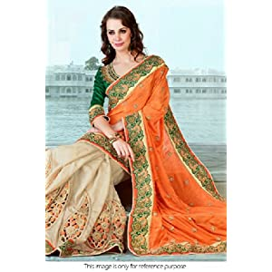 Ninecolours NC503 Bollywood Replica Jacquard and Dhupion Saree Cream and Orange
