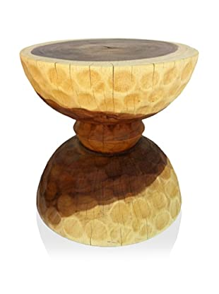 Asian Art Imports Acacia Wood Chiseled Hour Glass Stool