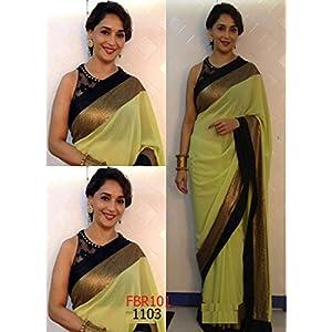 Bollywood Madhuri dixit saree in jhalak in neon green georgette saree