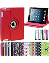 Generic 360 Degree Rotating Leather Smart Cover Case Stand for Apple iPad Mini (Red)