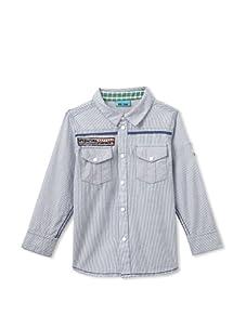Me Too Boy's Malcom Bam Striped Shirt (Blue Moon)