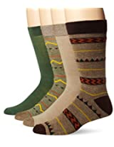 Lucky Men's 4 Pair Pack Native Geo Crew Socks, Khaki, 10-13/Shoe Size 6-12