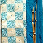 Blue and cream color chanderi silk Dress Material