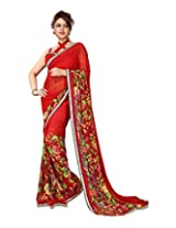 Adityadarshan Creation Red Faux Georgette Lace Saree