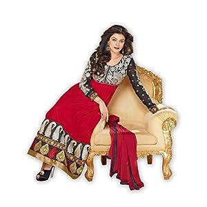 Styleliner Women Black & Maroon & Red Dress Material By Styleliner