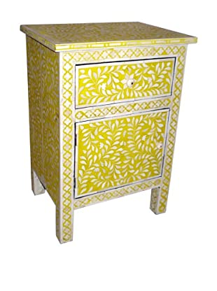 Mili Designs 1 Drawer 1 Door Geo Design Bone Inlay Bedside, Mustard/Cream