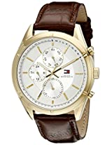 Tommy Hilfiger Men's 1791127 Sport Lux Gold-Tone Watch with Brown Band