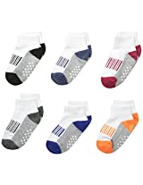 Jefferies Socks Boys' Sporty Half Cushion Quarter Socks 6 Pair Pack
