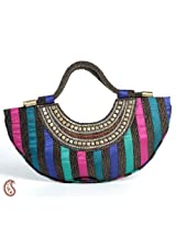 Black, Pink,Green,Blue Jute Silk Crescent Moon Bag