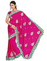 Chinco Embroidered Saree With Blouse Piece (1009-D_Pink)