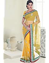 Amber Yellow Net Embroidered Party and Festival Saree