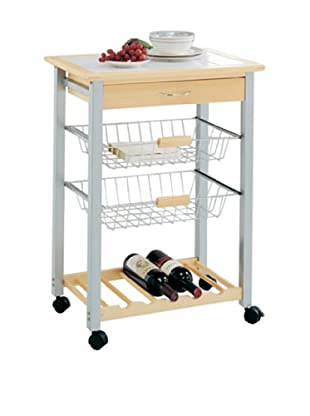 Organize It All Bamboo Kitchen Cart with 2 Baskets