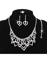 Silver Plated Austrian Diamonds Heart Jewellery Set by Beora