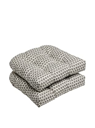 Pillow Perfect Set of 2 Outdoor Seeing Spots Wicker Seat Cushions, Brown