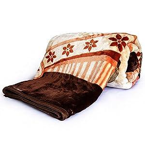 Little India Luxurious Floral Mink Double Blanket - Dark Brown (DLI4SBK222)