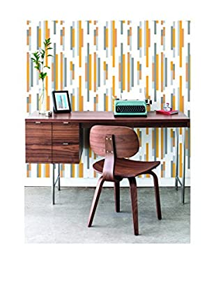 Tempaper Bars Removable Wallpaper, Yellow/Grey