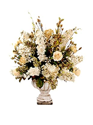 Creative Displays Cream Rose, Delphinium, & Hydrangea Floral in Stone Urn, 32x37x32